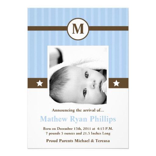 5x7 Boy Blue Monogram PHOTO Birth Announcement