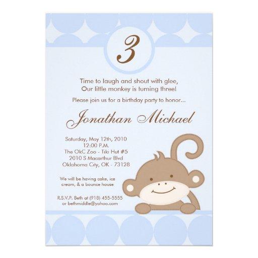 5x7 Boy Blue PolkaDot Monkey Birthday Invitation