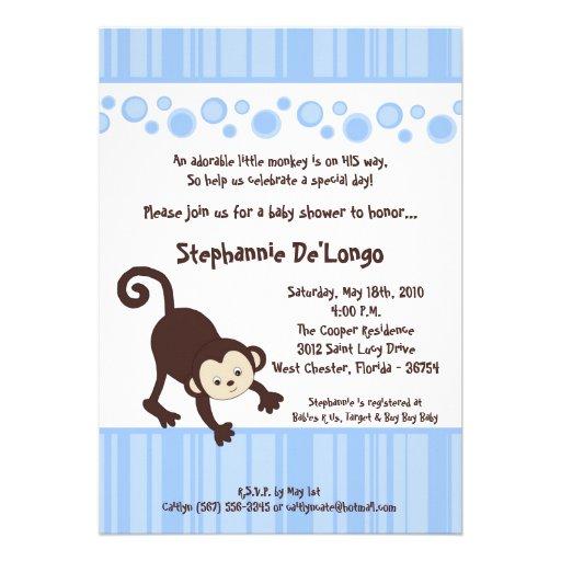 5x7 Boy Blue Pop Monkey Baby Shower Invitation Announcement