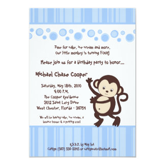 5x7 Boy Blue Pop Monkey Birthday Invitation