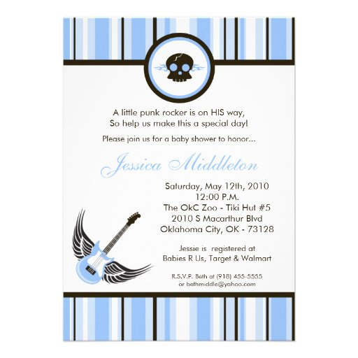 5x7 Boy Blue Punk Rocker Baby Shower Invitation