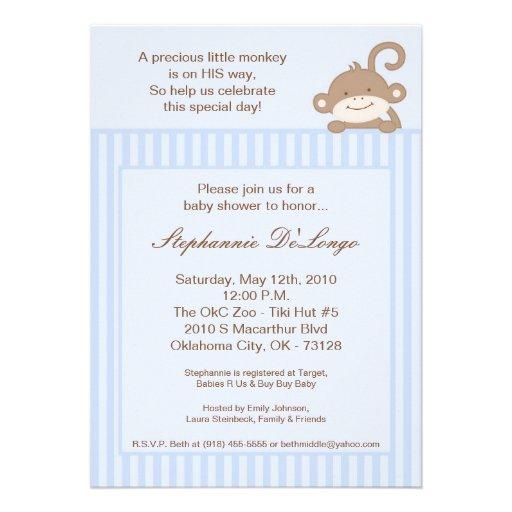 5x7 Boy Blue Stripe Monkey Baby Shower Invitation
