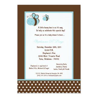 5x7 Brown Honey Bee Baby Shower Custom Invitations