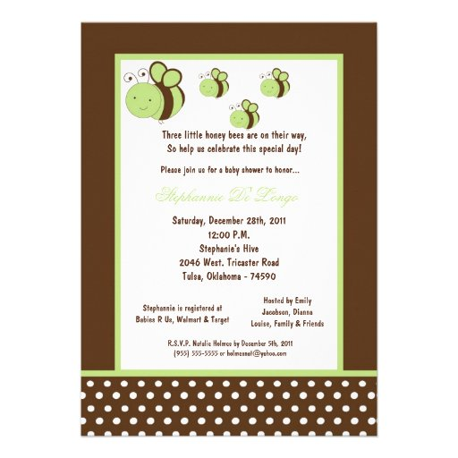 5x7 Brown Honey Bee Baby Shower Personalized Invitations