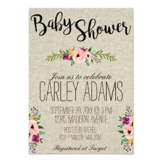 5x7 Burlap Adorned with Floral | Baby Shower Card