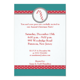 5x7 Candy Cane Stripes on Teal Invitation