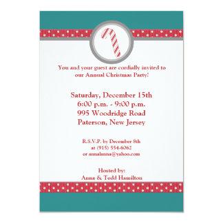 "5x7 Candy Cane Stripes on Teal Invitation 5"" X 7"" Invitation Card"