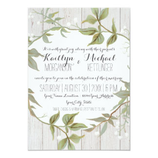 5x7 Card Laurel Leaf Leaves w Babys Breath Wreath