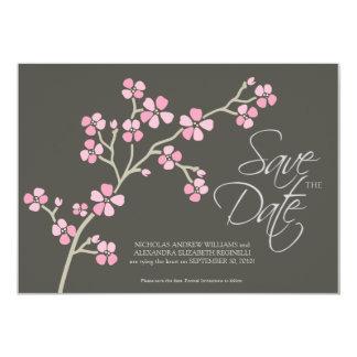 "5X7 Cherry Blossom Designer Save the Date :: pink 5"" X 7"" Invitation Card"