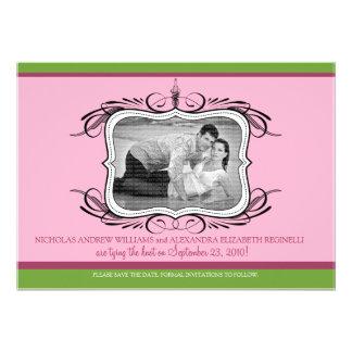 5X7 Chic Deco Designer Save the Date pink Custom Invitation