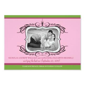 "5X7 Chic Deco Designer Save the Date :: pink 5"" X 7"" Invitation Card"