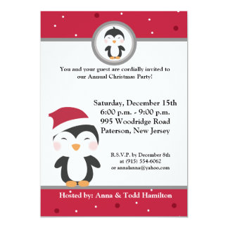 5x7 Christmas Hat Penguin Invitation