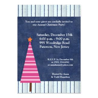 5x7 Christmas Tree Pink Orange Invitation