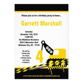 5x7 Construction Dozer Crane Birthday Invitation