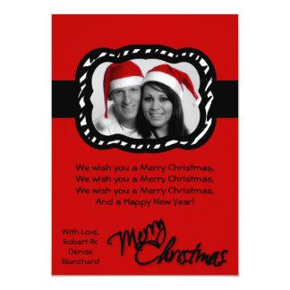 5x7 Crimson Red Black Band PHOTO Christmas Card 13 Cm X 18 Cm Invitation Card