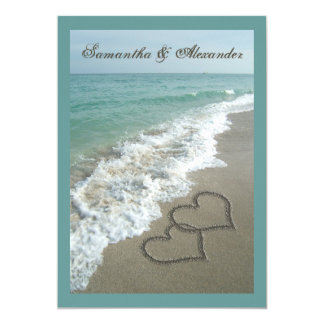 5x7 Custom Sand Hearts Beach Destination Wedding Card