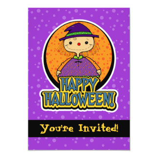 """5x7 Cute Witch Girl Halloween Party Invitations 5"""" X 7"""" Invitation Card"""