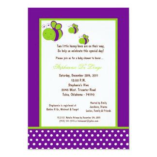 5x7 Dark Purple Honey Bee Baby Shower Custom Invitations