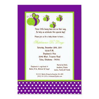 5x7 Dark Purple Honey Bee Baby Shower Personalized Invitation