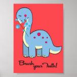 5x7 Dinosaur WorBrush Your Teeth Bathroom Wall Art Print