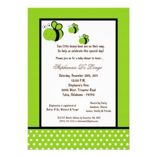 5x7 Electric Green Honey Bee Baby Shower Announcement