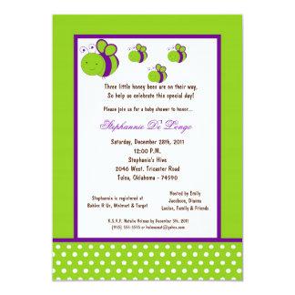 5x7 Electric Green Honey Bee Baby Shower Custom Invitation