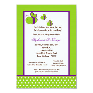 5x7 Electric Green Honey Bee Baby Shower Invitation