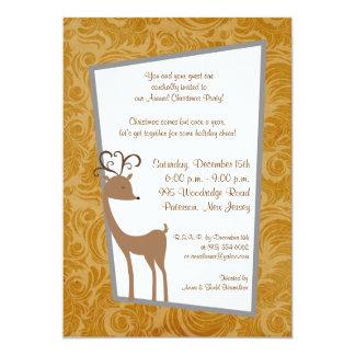 5x7 Elegant Reindeer Golden Scrolls Invitation