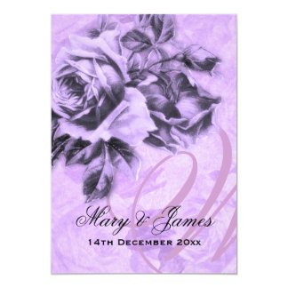 5x7 Elegant Wedding Vintage Roses Purple 13 Cm X 18 Cm Invitation Card