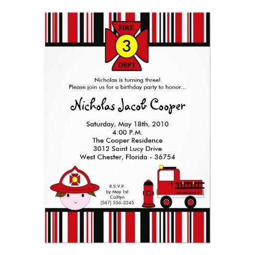 5x7 Fireman Firetruck Birthday Party Invitation