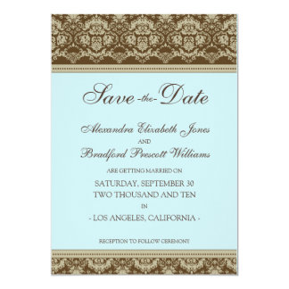 5x7 Flat Save the Date Vintage Baroque : baby blue Card