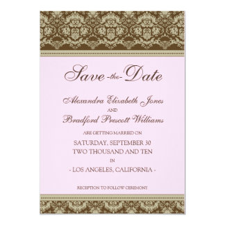 5x7 Flat Save the Date Vintage Baroque: baby pink 5x7 Paper Invitation Card
