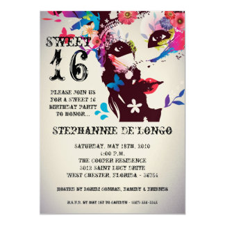5x7 Floral Masquerade Sweet 16 Birthday Invitation