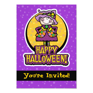 """5x7 Friendly Witch Halloween Party Invitations 5"""" X 7"""" Invitation Card"""