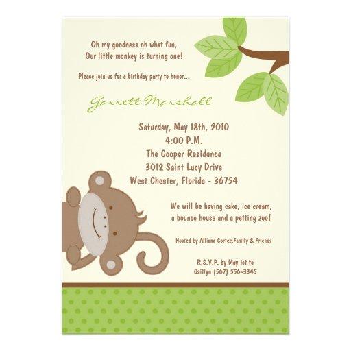 5x7 Funky Monkey Jungle Zoo Birthday Invitation