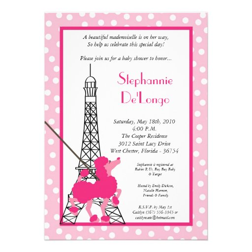 paris baby shower invitation 13 cm x 18 cm invitation card zazzle