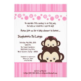 5x7 Girl Pink Pop Monkey Baby Shower Invitation Invite