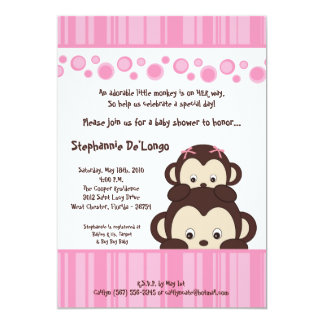 5x7 Girl Pink Pop Monkey Baby Shower Invitation