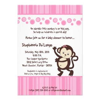 5x7 Girl Pink Pop Monkey Baby Shower Invitation Personalized Invitation