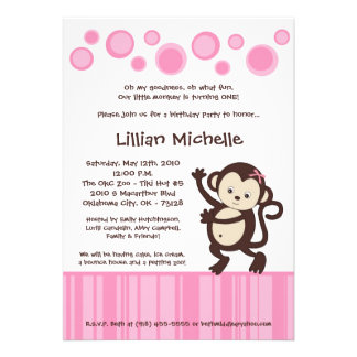5x7 Girl Pink Pop Monkey Dance Birthday Invitation