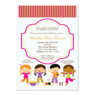 5x7 Girl Slumber Make Up Birthday Party Invitation