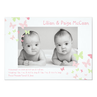 """5x7 Girl Twins Butterfly Photo Birth Announcement 5"""" X 7"""" Invitation Card"""