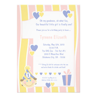 5x7 Girly One 1 Year Old Birthday Party Invitation