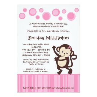 5x7 Girly Pink Monkey Dance Baby Shower Invitation