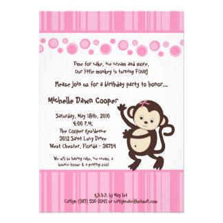 5x7 Girly Pink Pop Monkey Birthday Invitation