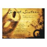 5x7 Gold Masquerade Sweet 16 Birthday Invitation