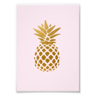 5x7 Gold Pineapple - pink - Photo print