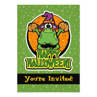 """5x7 Green Frog Witch Halloween Party Invitations 5"""" X 7"""" Invitation Card"""