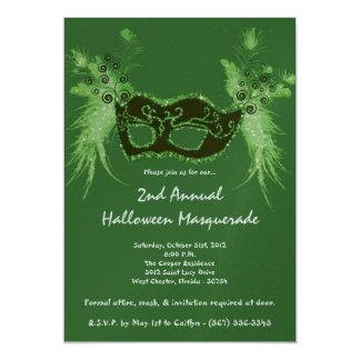 5x7 Green Masquerade Christmas XMAS Invitation