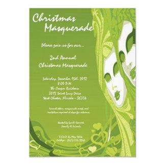 "5x7 Green Masquerade Christmas XMAS Invitation 5"" X 7"" Invitation Card"